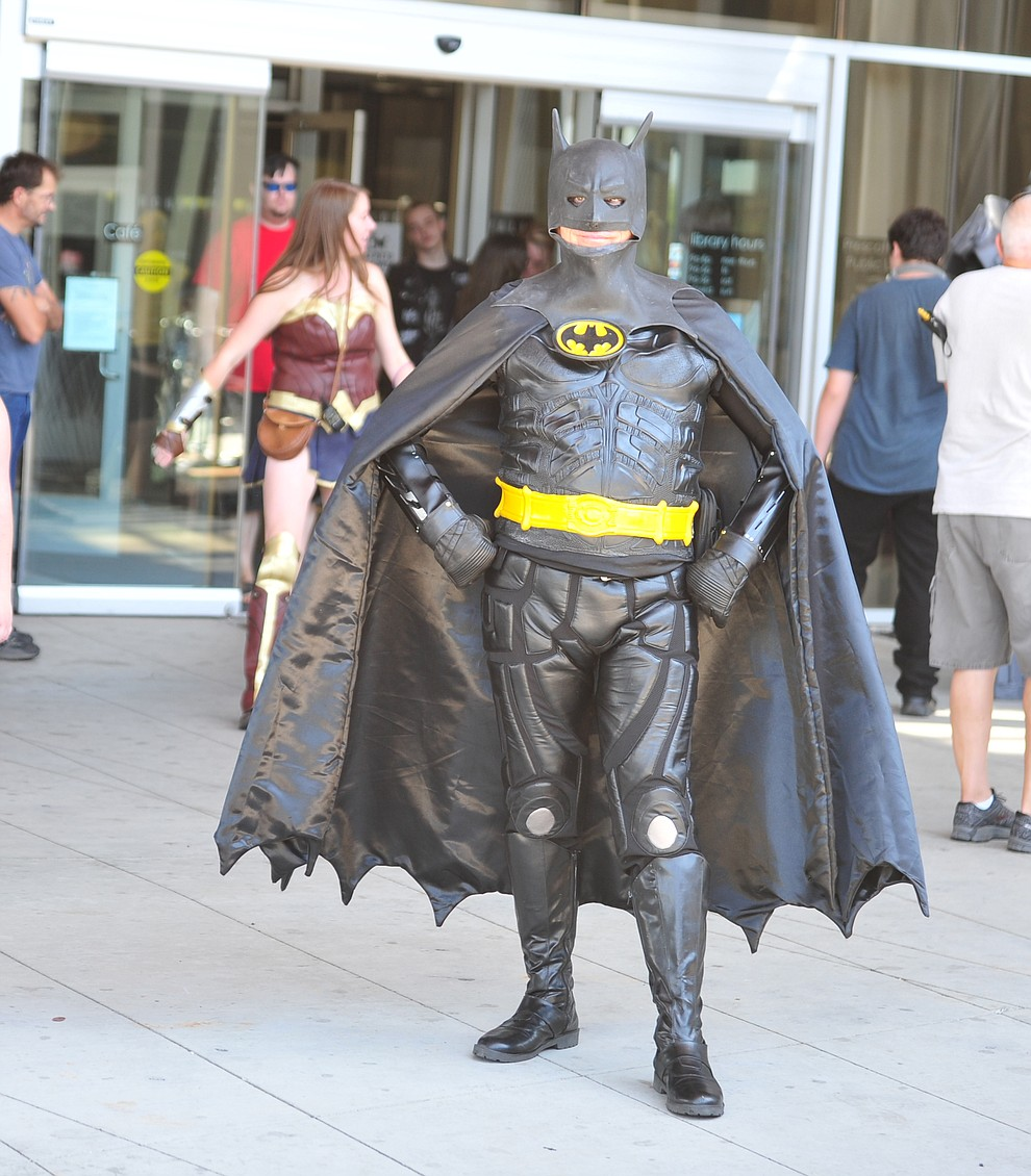 Batman stands outside the Prescott Valley Library at the Fandomania Comic Con event Saturday, July 28, 2018 in and around the Prescott Valley Library. (Les Stukenberg/Courier)
