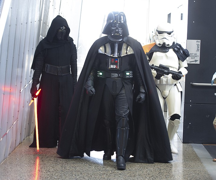 Kylo Ren, Darth Vader and a stormtrooper at the Fandomania Comic Con event Saturday, July 28, 2018 in and around the Prescott Valley Library. (Les Stukenberg/Courier)