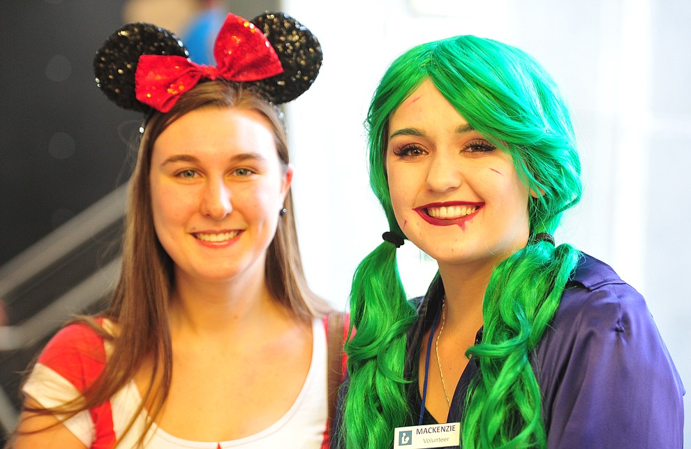Minnie Mouse, Monica Brush, and Joker Mackenzie Reynolds at the Fandomania Comic Con event Saturday, July 28, 2018 in and around the Prescott Valley Library. (Les Stukenberg/Courier)
