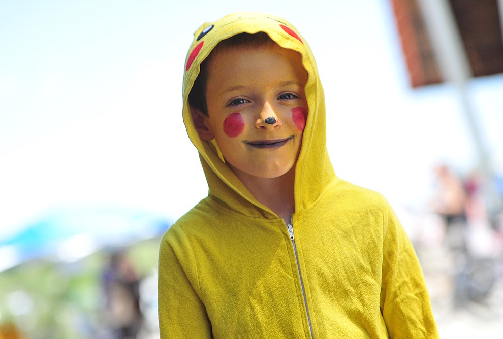 Ryder Kemps as Picachu from Pokemon at the Fandomania Comic Con event Saturday, July 28, 2018 in and around the Prescott Valley Library. (Les Stukenberg/Courier)