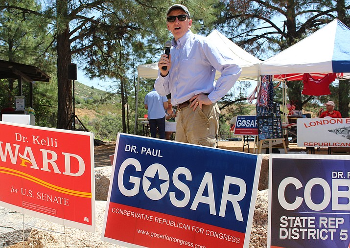 Rep. Paul Gosar, R-Prescott, at the Mohave Republican picnic July 28 in the Hualapai Mountains, said he is convinced voters will demand the impeachment of Deputy Attorney General Rod Rosenstein, even though House leaders have rejected the idea that he and a handful of Republicans introduced this week. (Photo by Vanessa Espinoza/Daily Miner)