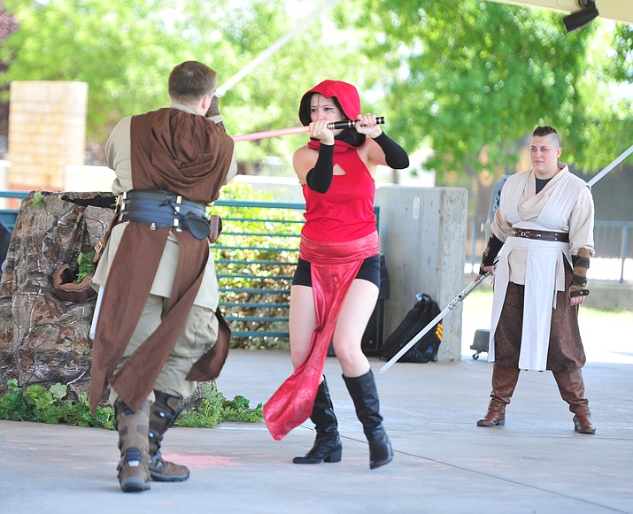 Syndicate Saber United perform at the Fandomania comic-con event Saturday, July 28, 2018, in and around the Prescott Valley Library. (Les Stukenberg/Courier)