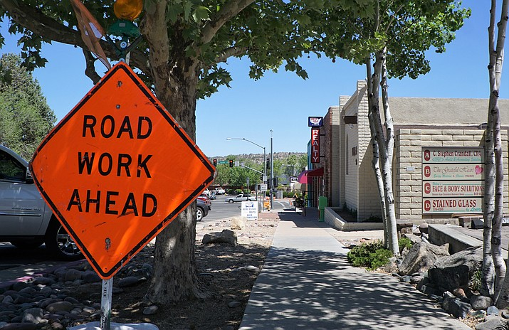 Signs warns of work on Marina Street and on Schemmer Drive in spring 2018. (Cindy Barks/Courier, file)