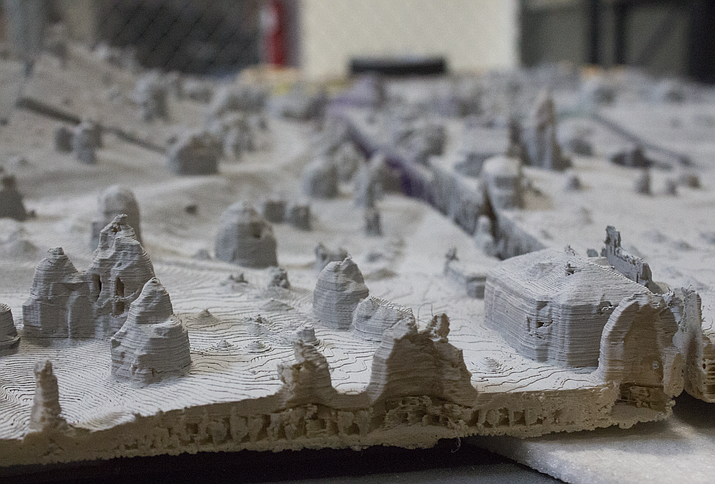 A map, left, created at Yavapai College, used a process to 3D print actual physical models of what drones captured digitally. (Holly Maller/Courtesy)