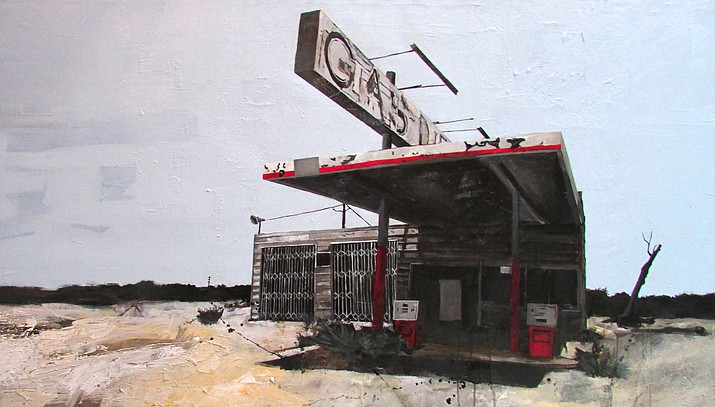 """Worn Out Life"" by Jonathan Howard, 36""h x 72""w, mixed media on canvas. At Lanning, a Bryant Nagel Gallery, in Sedona."