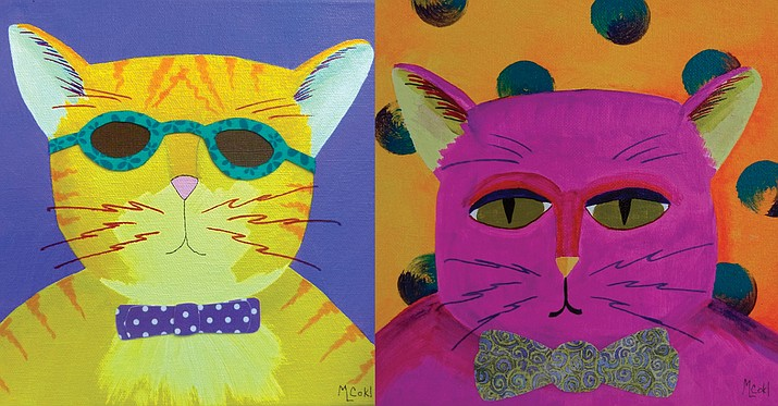 "Verde Valley artist Michele Cokl Naylor unveils her latest work in a one-woman exhibition, ""Cool Cats & Hats"" at the Jerome Artists Cooperative on Saturday, August 4. Courtesy photos/Michele Cokl Naylor"
