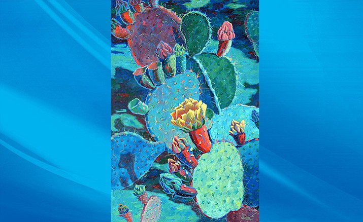 """Prickly Pear Night"" by Sharon Weiser, oil on canvas, 36"" x 24"". At Turquoise Tortoise, a Bryant Nagel Gallery in Sedona."
