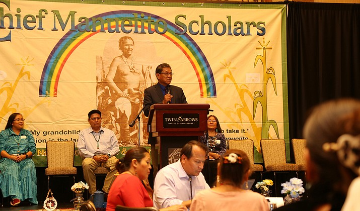 Navajo President Russell Begaye spoke to recipients of the 2018 Chief Manuelito Scholarships during an awards presentation at Twin Arrows July 25. (Office of the President and Vice President)