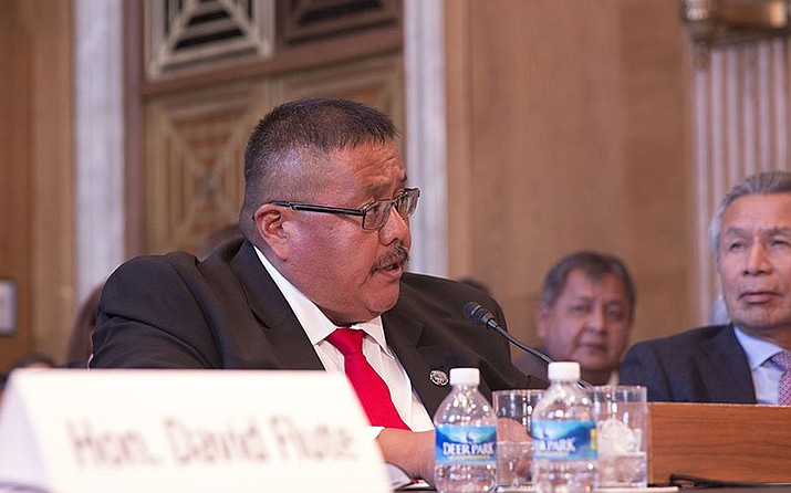 White Mountain Apache Tribe Vice Chairman Kasey Velasquez testifying in 2016 — the first of two appearances before Congress to urge it to pass a bill that would let the tribe deal with its failing groundwater supply. (Photo by Emily Zentner/Cronkite News)