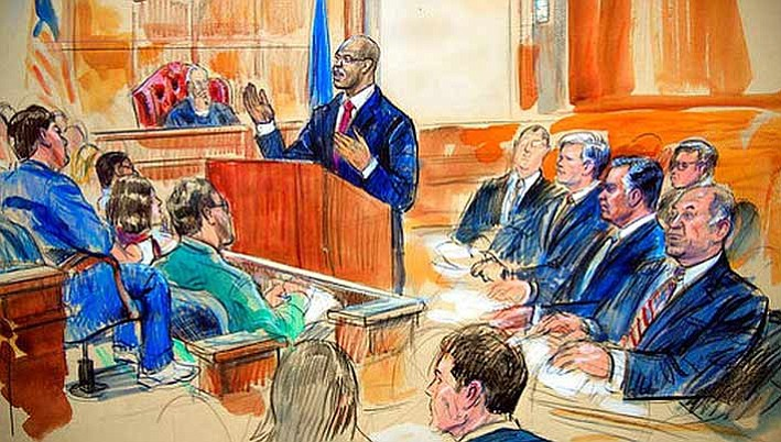 This courtroom sketch depicts Paul Manafort, seated right row second from right.