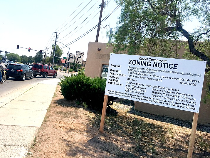 Starbucks has applied for a zoning change to locate a coffee shop at the corner of Arizona 89A and SR260, the former home of the Cottonwood Chamber of Commerce. VVN/Vyto Starinskas