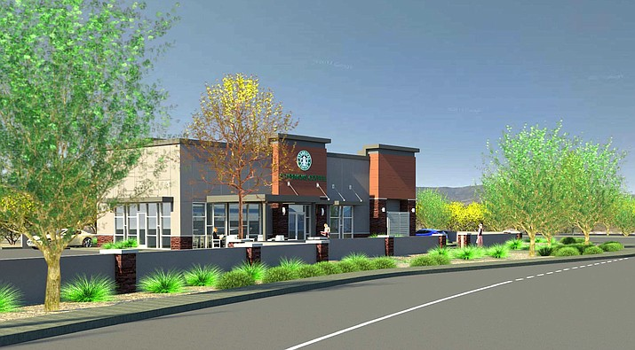 The proposed Cottonwood Starbucks on the southwest corner of Arizona 260 and Arizona 89A; the view from 260 looking in a north westerly direction. Image courtesy of Cottonwood Planning and Zoning