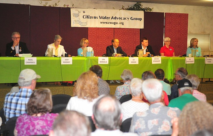 Candidates for Arizona House and Senate seats participate in a Citizens Water Advocacy Group forum Saturday, Aug. 4, 2018, at Granite Peak Universalist Unitarian Church in Prescott. (Les Stukenberg/Courier)