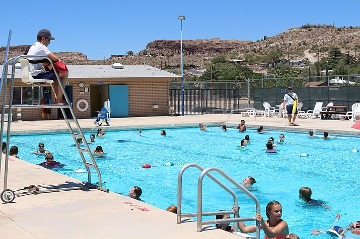 Grandview Pool is one of two public pools in Kingman where residents can see relief from the summer heat. It has a baby pool and wheelchair-accessible splash area. (Photo by Hubble Ray Smith/Daily Miner)