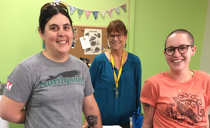 Northpoint's Middle School Principal Tracy Williams, center, with two of her three teachers. Fran Haynes, left, eighth grade English and history; and Emma Waldie, right, of Ann Arbor, Michigan, seventh grade English, social studies and science. (Nanci Hutson/Courier)