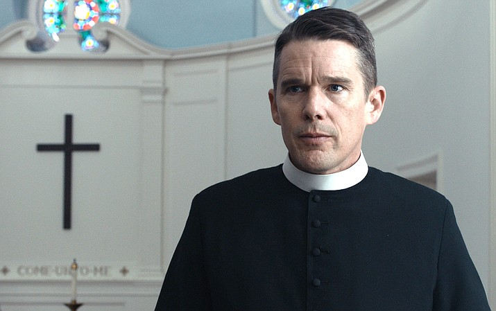 "he pastor of a small New England church spirals out of control after a soul-shaking encounter with an unstable environmental activist and his pregnant wife in this new taut thriller, ""First Reformed"". The film, by Paul Schrader, stars Ethan Hawke and Amanda Seyfried."