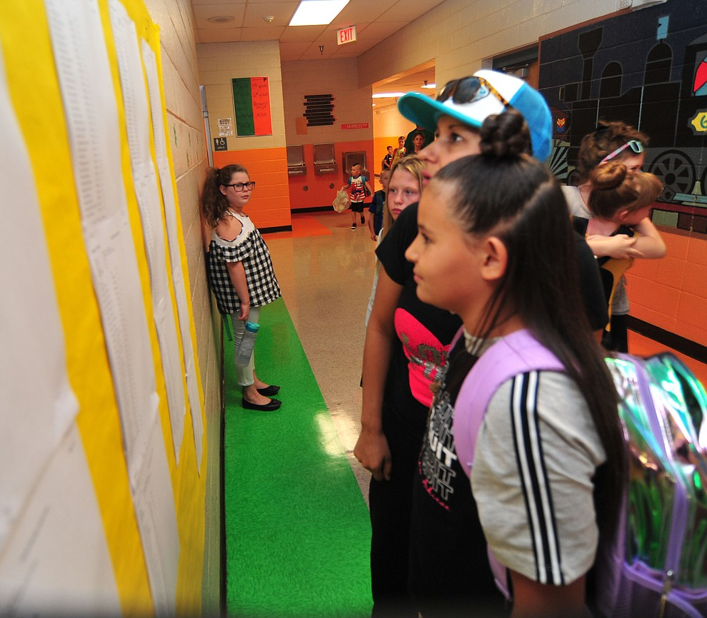 Jackie Figueroa and Chloe Fox, from left, check the class list on the first day of school at Coyote Springs Elementary in Prescott Valley Monday, August 6, 2018.  (Les Stukenberg/Courier)