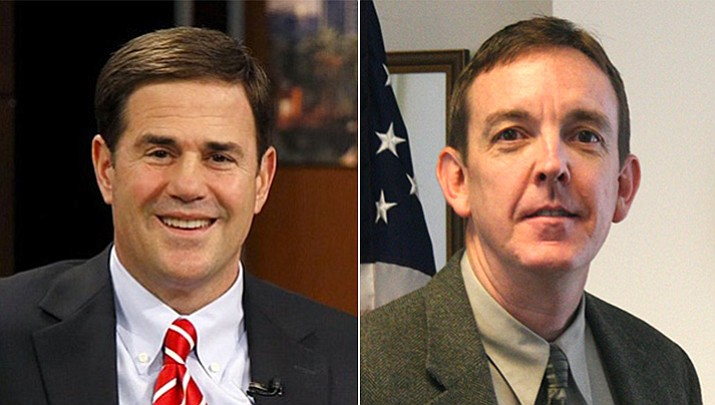 Gov. Doug Ducey, left, and former state Sen. Ken Bennett will square off in the Aug. 28 primary. (Courtesy)