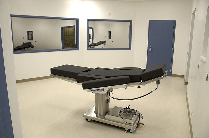 """This Nov. 10, 2016, file photo shows the newly completed execution chamber at Ely State Prison in Ely, Nev. Fifteen states are siding with Nevada as it fights drug companies battling the use of their products in an inmate's execution. Republican attorneys general from 15 states filed documents Monday, Aug. 6, 2018, with the Nevada Supreme Court arguing that drug company Alvogen's claims are a part of a """"guerrilla war against the death penalty."""" (Nevada Department of Corrections via AP, File)"""
