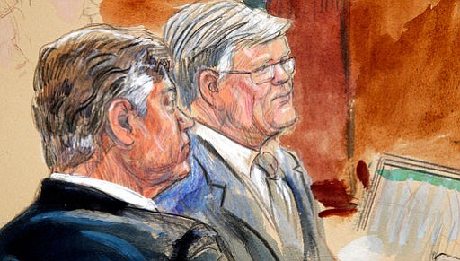 This courtroom sketch depicts former Donald Trump campaign chairman Paul Manafort, left, listening with his lawyer Kevin Downing to testimony from government witness Rick Gates as Manafort's trial continues at federal court in Alexandria, Va., Tuesday, Aug. 7, 2018. (Dana Verkouteren image)