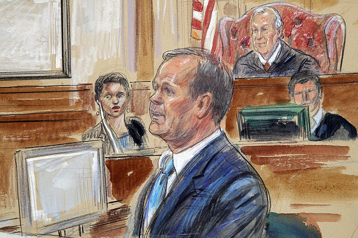 This courtroom sketch depicts Rick Gates, right, testifying during questioning in the bank fraud and tax evasion trial of Paul Manafort at federal court in Alexandria, Va., Tuesday, Aug. 7, 2018. U.S. district Judge T.S. Ellis III presides at top right. (Dana Verkouteren via AP)