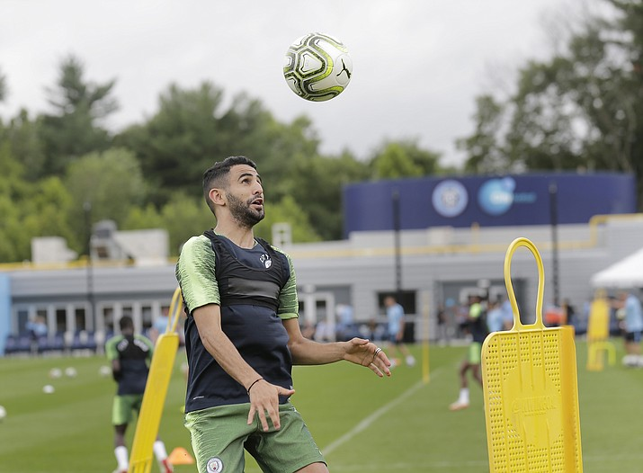 Manchester City FC player Riyad Mahrez practices with his team in Orangeburg, N.Y., Monday, July 23, 2018. Manchester City is scheduled to play Liverpool in an International Champions Cup soccer match in New Jersey on Wednesday. (Seth Wenig/AP Photo)