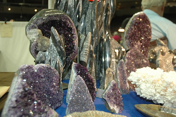 Amethyst and Orthserious, found at the Prescott Gem & Mineral Club's 15th annual Gem & Mineral show at the Prescott Valley Event Center on Saturday, Aug. 4. The show, which had 60 vendors, was a draw over the entire weekend. The next event listed is a Western Collectibles & Firearms Gun Show, Aug. 18-19. (Jason Wheeler/Tribune)