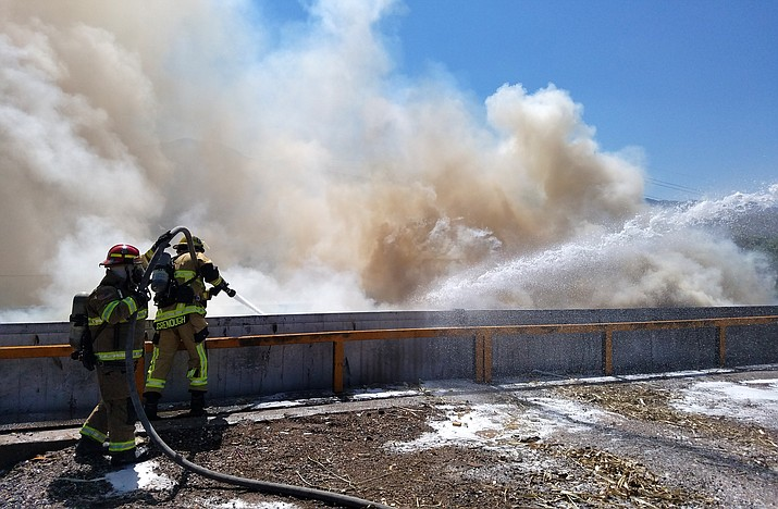 It took firefighters almost two hours to completely extinguish the fire. Initial investigation indicated that fire probably is the result of smoldering material discarded in garbage and deposited at the transfer station. Photo courtesy of Cottonwood Fire and Medical Department.