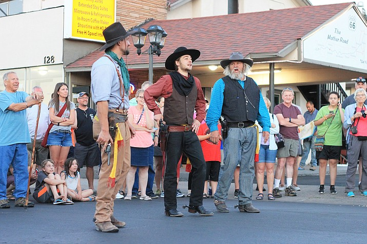 Members of the Cataract Creek Gang stage a gunfight in downtown Williams. (Wendy Howell/WGCN)