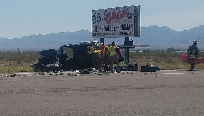 First responders work the scene of the crash at mile marker 22 on Highway 68. (Courtesy)