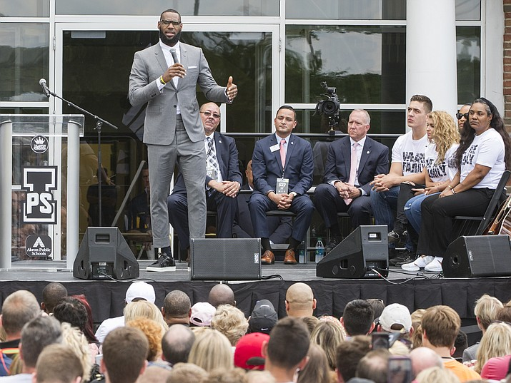LeBron James speaks at the opening ceremony for the I Promise School in Akron, Ohio, Monday, July 30, 2018. The I Promise School is supported by the The LeBron James Family Foundation and is run by the Akron Public Schools. (Phil Long/AP)