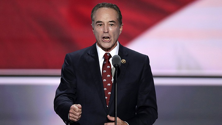 In this July 19, 2016 file photo, Rep. Chris Collins, R-N.Y., speaks in Cleveland. Collins was indicted on charges that he used inside information about a biotechnology company to make illicit stock trades. (J. Scott Applewhite/AP, File)