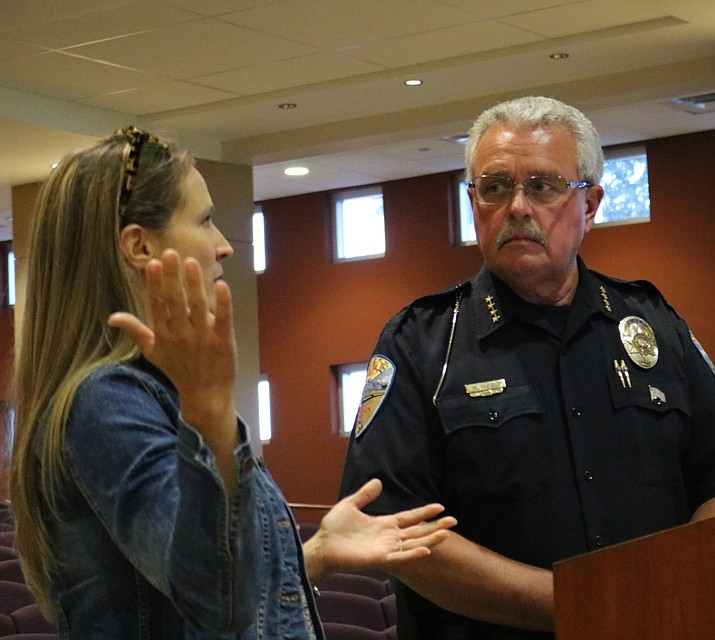 Kingman Police Department Chief Robert DeVries and Dr. Sarah Knievel, co-chairs of the Mohave Substance Abuse Treatment and Education Prevention Partnership, told Council at its meeting Tuesday of steps being taken to combat the opioid epidemic in Mohave County. (Travis Rains/Daily Miner)