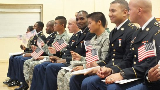 Every year U.S. Citizenship and Immigration Services (USCIS) naturalizes thousands of immigrants who are currently serving in the U.S. Armed Forces. (US Army Photo)