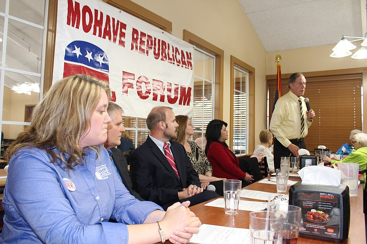 Candidates for Mohave County Superior Court Division 6 judge spoke Wednesday at the Mohave Republican Forum. From left are Virginia Crews, Mohave County Attorney Matt Smith on behalf of Lenore Knudson, and Eric Gordon. (Hubble Ray Smith/Daily Miner)