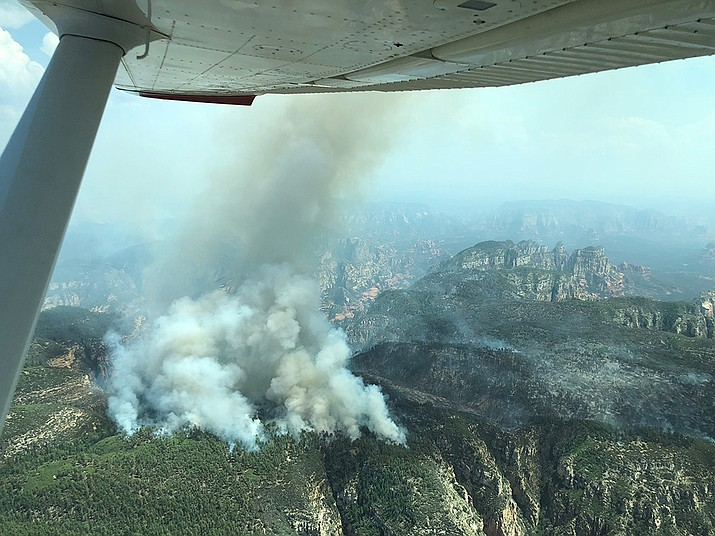 An aerial view of the Rhino Fire, which is burning about six miles northwest of Sedona in Red Rock Secret Mountain Wilderness.