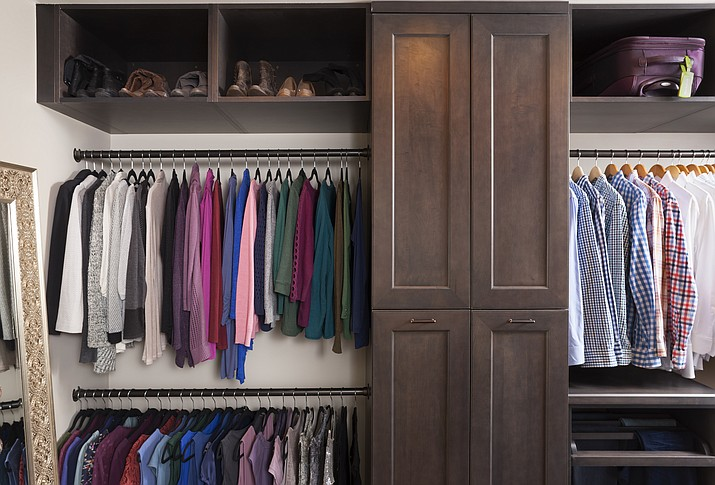 This photo provided by Case Design shows a closet designed by Elena Eskandari, an interior designer specialist at Case Design. (Stacy Zarin Goldberg/Case Design via AP)