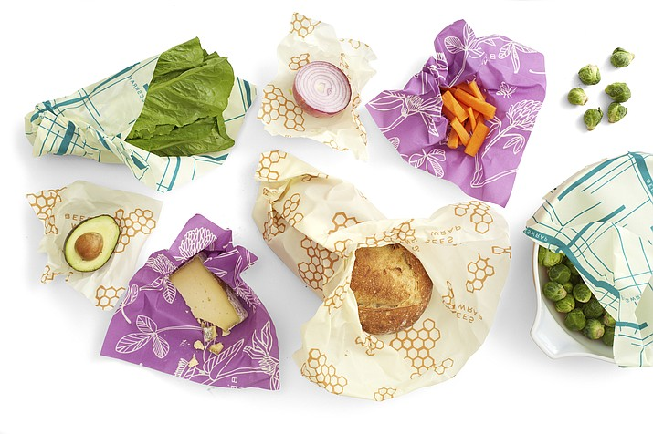 This photo provided by Bees Wrap shows the wrap in use in a variety pack of colors and sizes. (Bees Wrap via AP)