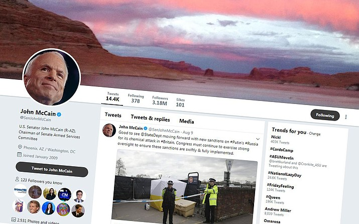 Sen. John McCain saw the biggest hit to his Twitter account, losing 210,000 followers in the social medium platform's purge of suspicious accounts last month, but it barely made a dent in his account, which still has 3.18 million followers. (Twitter/Courtesy)