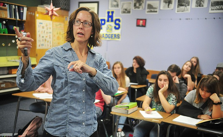 Cathleen Cherry teaches her French 1 students at Prescott High School Tuesday, Aug. 7, 2018.  (Les Stukenberg/Courier)