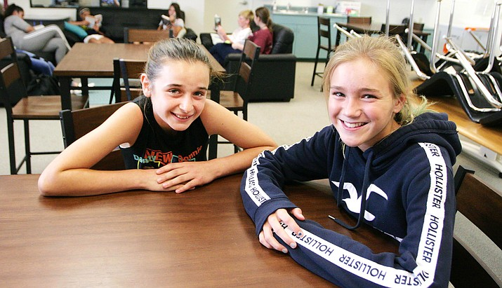 Beaver Creek sixth grader Bella Ciminieri, left, and seventh grader Alyssa Wheeler are two of the school's 129 students to be involved in a pilot program called Blended Learning. VVN/Bill Helm