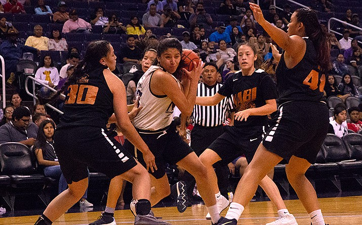The NABI Foundation is about basketball but also furthering education. At Talking Stick Resort Arena in July, the Navajo Nation Elite smothered Yakama Nation in the girls Division I final in the foundation's tournament. (Photo by Nate Fain/Cronkite News)