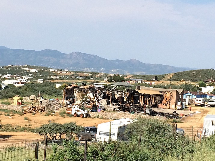 A Friday afternoon, Aug. 10, fire gutted a home in the Whitehorse Ranch subdivision in Dewey. (Mary Jo Butitta/Courtesy)
