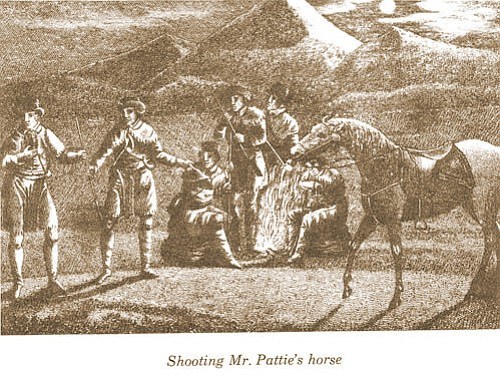 Shooting of Mr. Pattie's horse. (Image courtesy of the author, from the original 1831 edition of The Personal Narrative of James O. Pattie co-written with Timothy Flint.)
