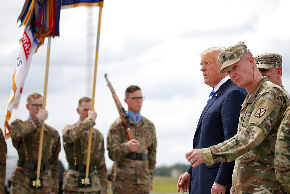 President Donald Trump arrives on Air Force One at Wheeler-Sack Army Air Field in Fort Drum, N.Y., Monday, Aug. 13, 2018. (AP Photo/Carolyn Kaster)