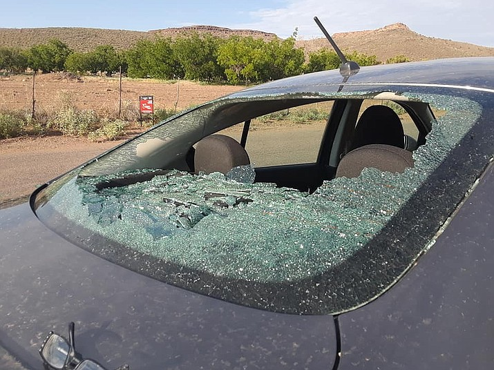Kingman resident Beth Robbins found her car window shattered Sunday morning. (Photo submitted by Beth Robbins)