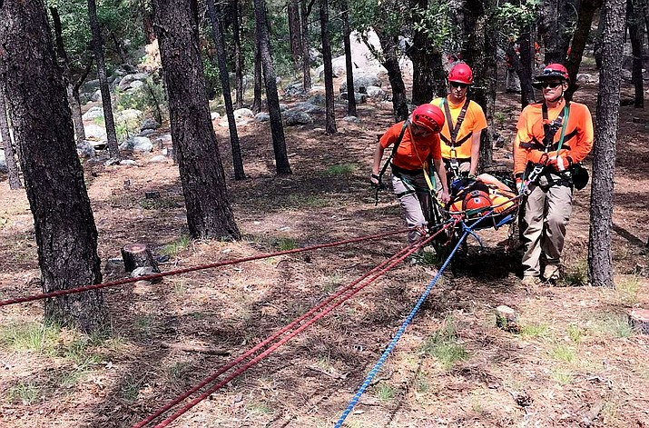 Members of Mohave County Search and Rescue train in technical rope rescues. (MCSO photo)