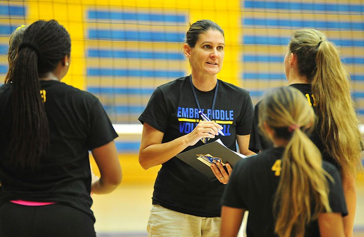 Embry-Riddle head coach Jill Blasczyk talks with a few players during practice Thursday, Aug. 9, 2018, in Prescott. (Les Stukenberg/Courier)