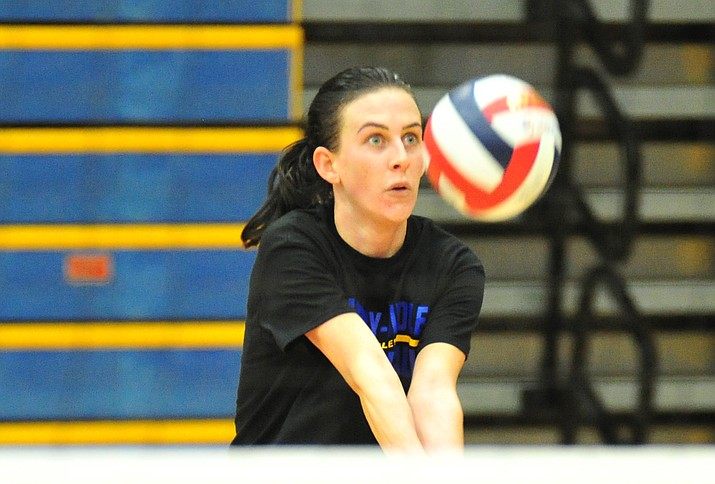 Embry-Riddle senior All-American Jalin Yoder works on her game at practice Thursday, Aug. 9, 2018, in Prescott. The Eagles are coming off a 30-5 season that saw the program reach the NAIA Volleyball National Championship Tournament for the first time in program history. (Les Stukenberg/Courier)