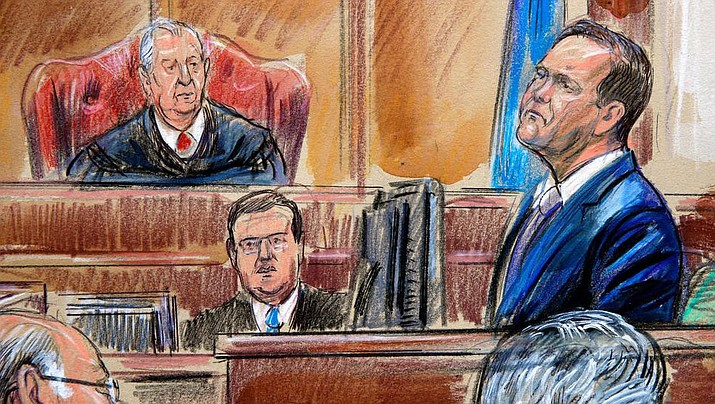 This Aug. 7, 2018, courtroom sketch depicts Rick Gates, right, testifying during questioning in the bank fraud and tax evasion trial of Paul Manafort at federal court in Alexandria, Va. U.S. district Judge T.S. Ellis III presides at top right. Though Gates definitively admitted to embezzling hundreds of thousands of dollars from Manafort at his old job, Trump's inaugural committee chairman is declining to say how much money Gates may have taken - or whether any further review of inaugural spending is warranted. (Dana Verkouteren image)